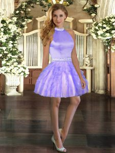 Adorable Lavender Halter Top Neckline Beading and Ruffles Pageant Dress for Teens Sleeveless Backless