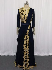 Stunning Floor Length Zipper Glitz Pageant Dress Navy Blue for Prom and Party and Military Ball with Lace and Appliques