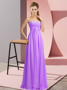 Elegant Sleeveless Chiffon Floor Length Lace Up Pageant Dress for Womens in Lavender with Beading