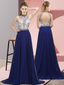 Suitable Sleeveless Brush Train Backless Beading Pageant Dress for Womens