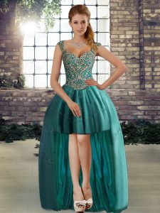 Chic Teal A-line Beading Evening Gowns Lace Up Tulle Sleeveless High Low