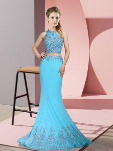 High-neck Sleeveless Pageant Dress for Teens Sweep Train Beading and Appliques Aqua Blue Satin