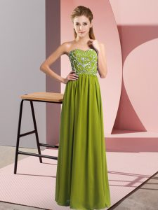 Eye-catching Floor Length Empire Sleeveless Olive Green Pageant Dress Womens Lace Up