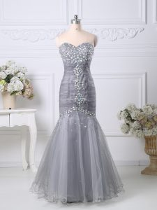 Colorful Grey Zipper Sweetheart Beading and Ruching High School Pageant Dress Tulle Sleeveless