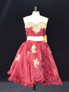 Fashion Wine Red Sweetheart Zipper Appliques and Ruffles High School Pageant Dress Sleeveless