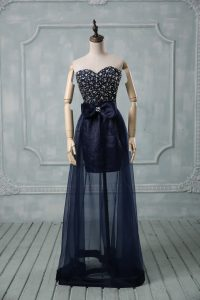 Modern Floor Length Empire Sleeveless Navy Blue Pageant Dress for Girls Lace Up