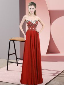 Best Sleeveless Chiffon Floor Length Zipper Pageant Dress Womens in Rust Red with Beading