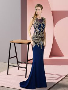 Satin Scoop Sleeveless Sweep Train Zipper Appliques Pageant Dress for Teens in Royal Blue