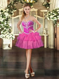 Exceptional Sleeveless Lace Up Mini Length Beading and Ruffled Layers Pageant Dress for Teens