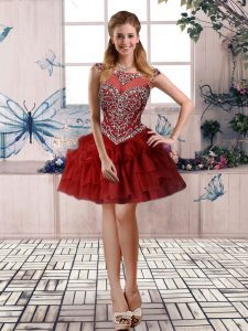 Burgundy Ball Gowns Beading and Pick Ups High School Pageant Dress Zipper Tulle Sleeveless Mini Length
