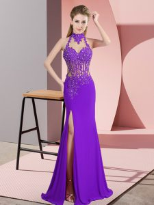 Sleeveless Chiffon Floor Length Backless Winning Pageant Gowns in Purple with Beading