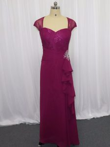 Sweetheart Cap Sleeves High School Pageant Dress Floor Length Beading and Lace and Appliques Fuchsia Chiffon