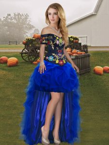 Royal Blue Lace Up Off The Shoulder Embroidery and Ruffles Pageant Dress for Girls Tulle Sleeveless