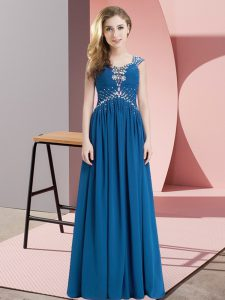 Lovely Floor Length Empire Cap Sleeves Blue Pageant Dress Lace Up