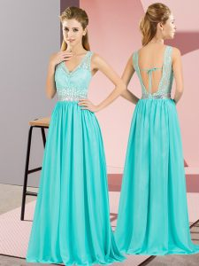 Free and Easy Empire Pageant Gowns Aqua Blue V-neck Chiffon Sleeveless Floor Length Backless