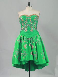 Pretty Green Lace Up Sweetheart Sleeveless Mini Length Pageant Dress Embroidery