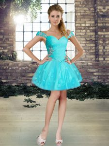 Pretty Sleeveless Tulle Mini Length Lace Up Evening Gowns in Aqua Blue with Beading and Appliques
