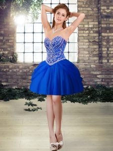 Pretty Royal Blue Sleeveless Tulle Lace Up Pageant Dress Womens for Prom and Party