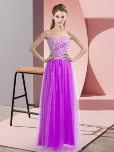 Cheap Lilac Sleeveless Beading Floor Length Winning Pageant Gowns