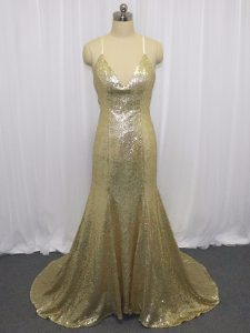 Champagne Mermaid Sequins Pageant Dress for Teens Criss Cross Sequined Sleeveless