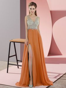 Glittering Orange Pageant Dress for Teens Prom and Party with Beading V-neck Sleeveless Sweep Train Zipper