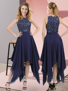Navy Blue Zipper High-neck Beading and Sequins Pageant Dress for Girls Chiffon Sleeveless