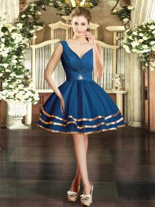 Mini Length Blue Evening Gowns Organza Sleeveless Ruffled Layers