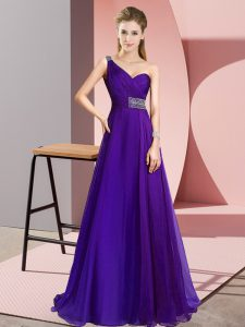 Modest Purple Empire Beading Pageant Gowns Criss Cross Chiffon Sleeveless