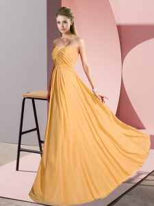 Floor Length Empire Sleeveless Gold Pageant Dress for Womens Lace Up