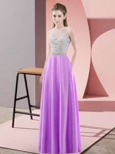 Beading Pageant Gowns Lavender Backless Sleeveless Floor Length