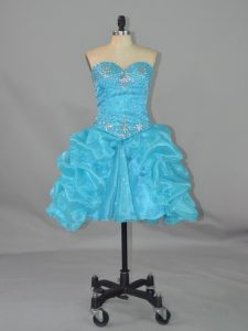 Mini Length Ball Gowns Sleeveless Aqua Blue Glitz Pageant Dress Lace Up