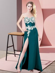 Top Selling Sweetheart Sleeveless Pageant Dress for Teens Floor Length Lace and Appliques Teal Chiffon