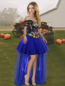 Royal Blue Tulle Lace Up Off The Shoulder Sleeveless High Low Custom Made Pageant Dress Embroidery