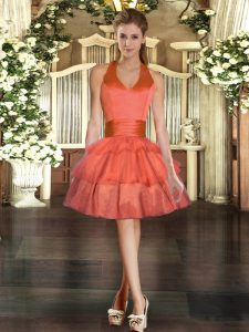 Sweet Orange Red High School Pageant Dress Prom and Party with Ruffled Layers Halter Top Sleeveless Lace Up