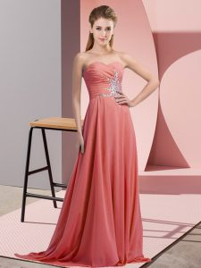 Exceptional Empire High School Pageant Dress Watermelon Red Sweetheart Chiffon Sleeveless Floor Length Lace Up