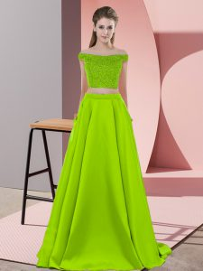 Off The Shoulder Sleeveless Pageant Dress Sweep Train Beading Yellow Green Elastic Woven Satin