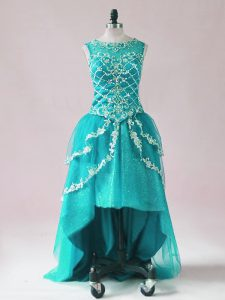 Teal Sleeveless Beading and Appliques High Low Pageant Dress
