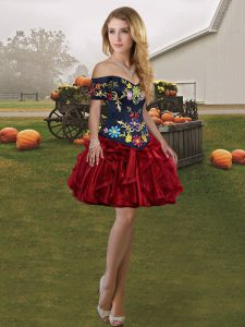 Off The Shoulder Sleeveless Lace Up Pageant Dress for Girls Wine Red Organza