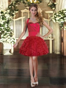 Charming Ball Gowns Pageant Dress for Teens Wine Red Halter Top Tulle Sleeveless Mini Length Lace Up