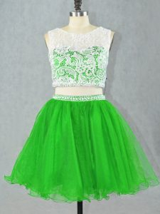 Green Scoop Neckline Lace and Appliques Winning Pageant Gowns Sleeveless Zipper