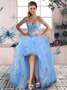 Sleeveless Lace Up High Low Beading and Ruffles Pageant Gowns