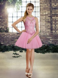 Pretty Tulle Sleeveless Mini Length Pageant Gowns and Beading