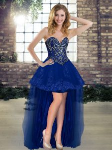Perfect Sleeveless Lace Up High Low Beading Pageant Gowns