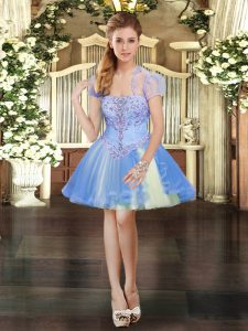 Amazing Tulle Strapless Sleeveless Lace Up Beading and Lace Glitz Pageant Dress in Lavender