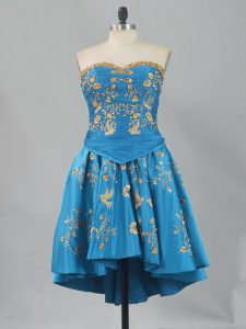 Latest Embroidery Winning Pageant Gowns Blue Lace Up Sleeveless