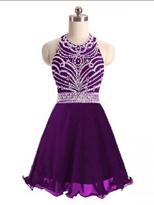 Suitable Mini Length Eggplant Purple Pageant Dress Toddler Halter Top Sleeveless Lace Up