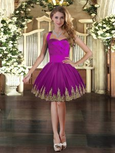 Custom Designed Embroidery Winning Pageant Gowns Purple Lace Up Sleeveless Mini Length