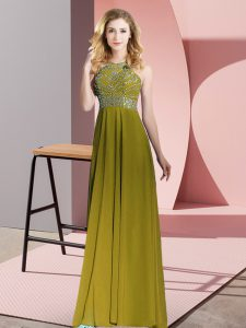 Customized Floor Length Empire Sleeveless Olive Green Pageant Dress for Teens Backless