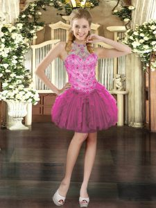 Sleeveless Mini Length Beading and Ruffles Lace Up Pageant Dress for Girls with Fuchsia