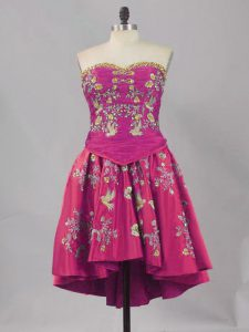 Traditional Fuchsia Lace Up Pageant Dress Toddler Embroidery Sleeveless Mini Length